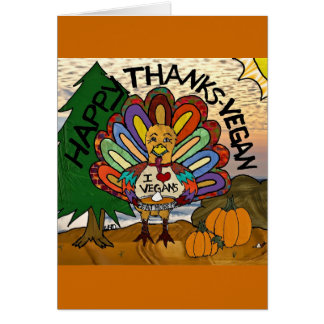 Happy Thanks-Vegan Thanksgiving Turkey Gifts Card