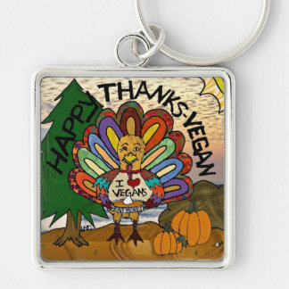 Happy Thanks-Vegan Thanksgiving Turkey Gifts Key Chain