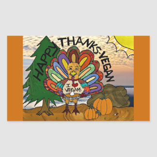 Happy Thanks-Vegan Thanksgiving Turkey Gifts Rectangular Stickers