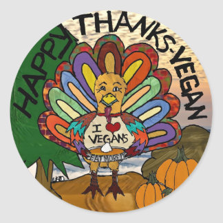 Happy Thanks-Vegan Thanksgiving Turkey Gifts Stickers