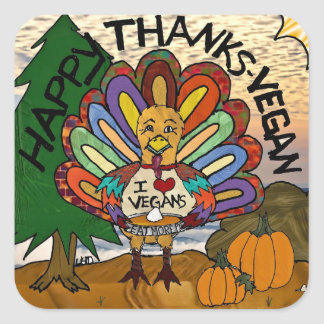 Happy Thanks-Vegan Thanksgiving Turkey Gifts Sticker
