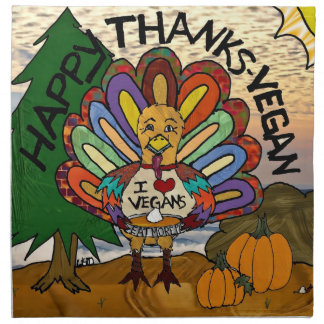 Happy Thanks-Vegan Thanksgiving Turkey Napkin