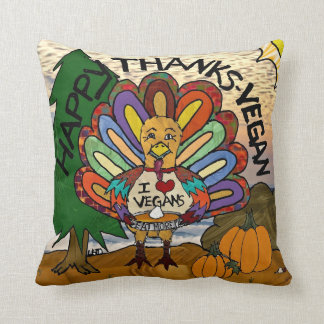 Happy Thanks-Vegan Thanksgiving Turkey Pillow