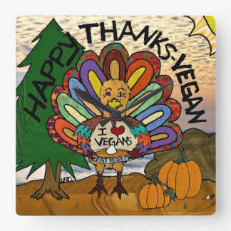 Happy Thanks-Vegan Thanksgiving Turkey Wall Clock