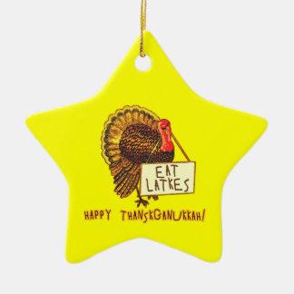 Happy Thanksganukkah EAT LATKES Christmas Ornament