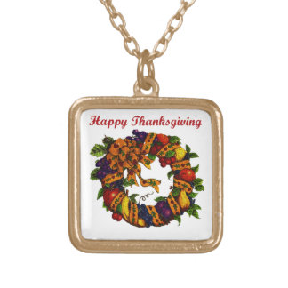 Happy Thanksgiving 1 Gold Plated Necklace