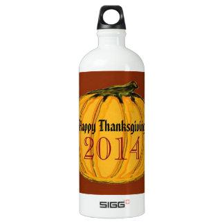 HAPPY THANKSGIVING 2014b green white jGibney The M Aluminum Water Bottle