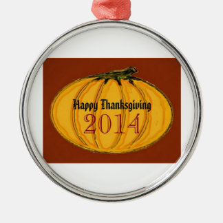 HAPPY THANKSGIVING 2014b green white jGibney The M Ornament