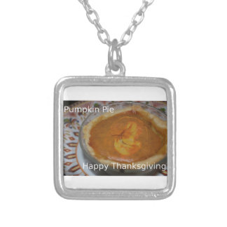 Happy Thanksgiving And Pumpkin Pie Silver Plated Necklace