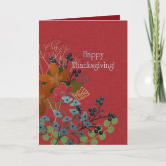 Happy Thanksgiving! Autumn Berry Branches Holiday Card