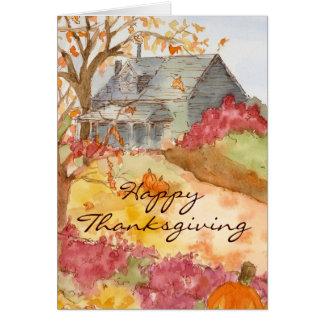 Happy Thanksgiving Autumn Home Landscape Art Card