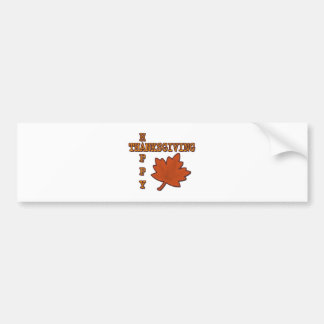 Happy Thanksgiving Autumn Leaf Car Bumper Sticker