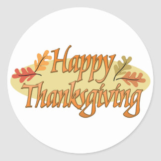Happy Thanksgiving Autumn Leaves Classic Round Sticker