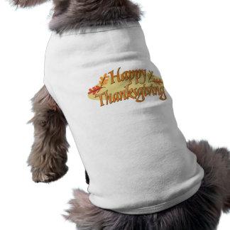 Happy Thanksgiving Autumn Leaves Doggie Tee Shirt