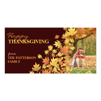 Happy Thanksgiving Autumn Leaves Photo Greeting Card