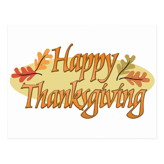 Happy Thanksgiving Autumn Leaves Postcard