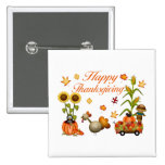 Happy Thanksgiving Autumn Leaves Pumpkin & Turkey 2 Inch Square Button