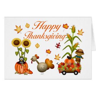 Happy Thanksgiving Autumn Leaves Pumpkin & Turkey Greeting Card
