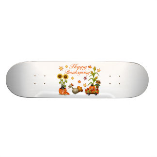 Happy Thanksgiving Autumn Leaves Pumpkin & Turkey Skateboard