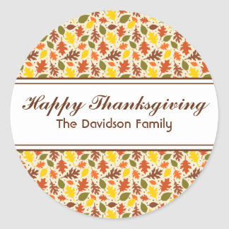 Happy Thanksgiving Autumn Leaves Sticker