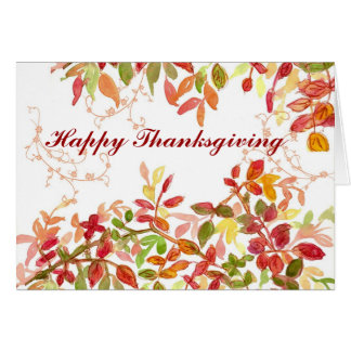 Happy Thanksgiving Autumn Leaves Watercolor Card