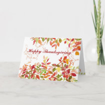 Happy Thanksgiving Autumn Leaves Watercolor Holiday Card