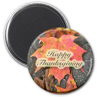 Happy Thanksgiving Autumn Maple Leaf Series 2 Inch Round Magnet