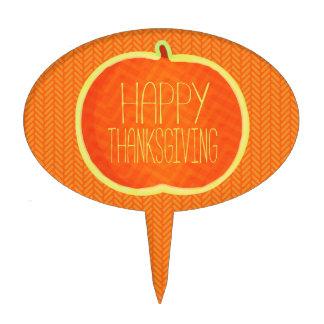 Happy Thanksgiving Autumn Pumpkin Oval Cakepick