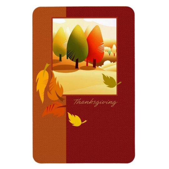 Happy Thanksgiving. Autumn Scene Magnet