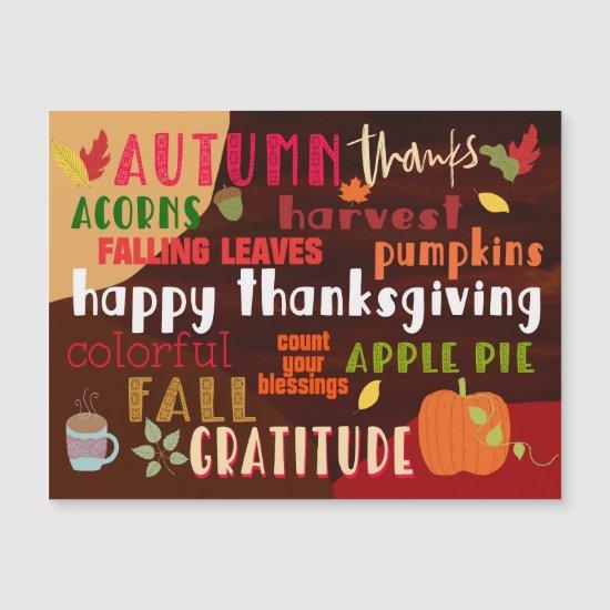 Happy Thanksgiving Autumn Wordart Typography