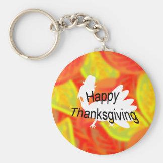 Happy Thanksgiving Basic Round Button Keychain