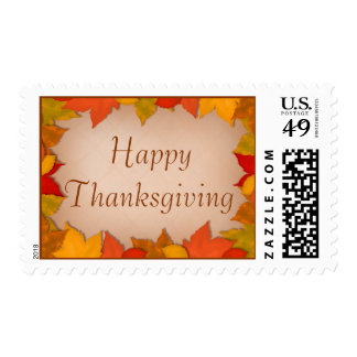 Happy Thanksgiving Beautiful Fall or Autumn Leaves Postage