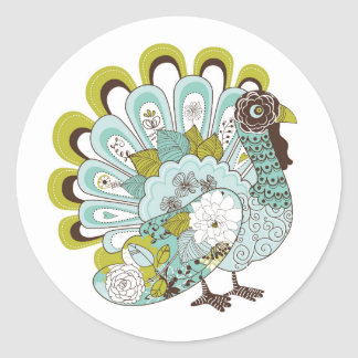 Happy Thanksgiving Beautiful Turkey Card 2 Classic Round Sticker