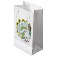 Happy Thanksgiving Beautiful Turkey Card 2 Small Gift Bag