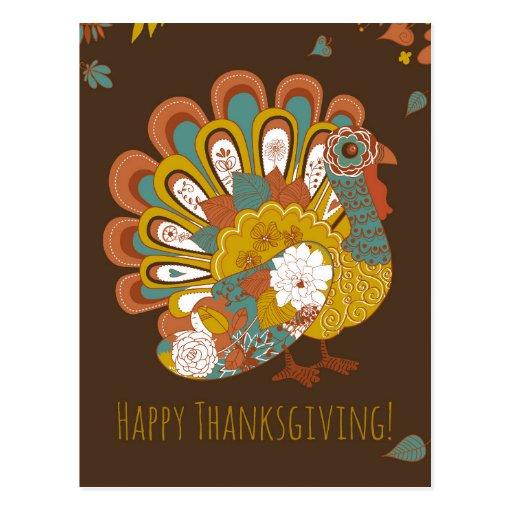 Happy Thanksgiving Beautiful Turkey Card Postcards