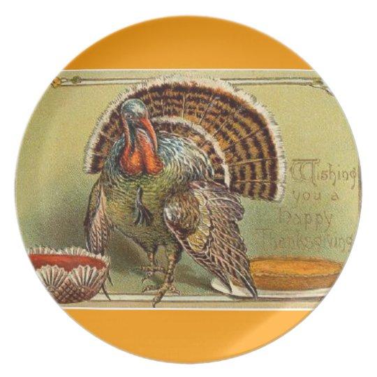 Happy Thanksgiving Bird vintage art Plate