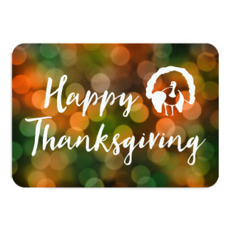 Happy Thanksgiving (bokeh fall lights) Card