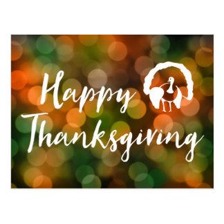 Happy Thanksgiving (bokeh fall lights) Postcard