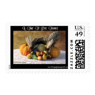 Happy Thanksgiving Bountiful Blessings Cornucopia Postage