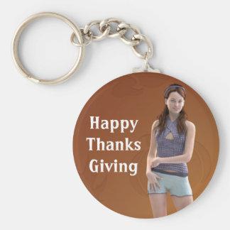 Happy Thanksgiving Bree Basic Round Button Keychain