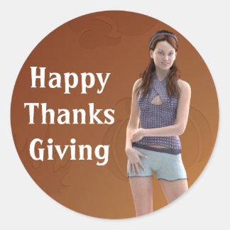 Happy Thanksgiving Bree Classic Round Sticker