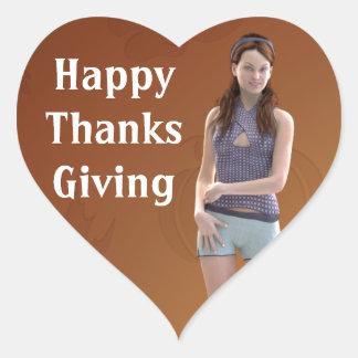 Happy Thanksgiving Bree Heart Sticker
