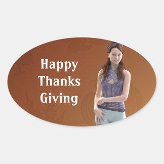 Happy Thanksgiving Bree Oval Sticker