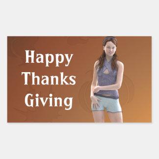 Happy Thanksgiving Bree Rectangular Sticker