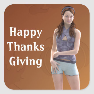 Happy Thanksgiving Bree Square Sticker