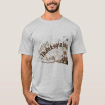 Happy Thanksgiving & Brown Leaves Light T-Shirt