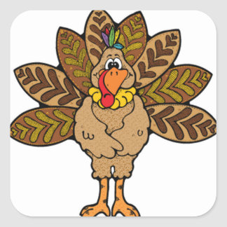 Happy Thanksgiving, Brown Turkey Square Stickers