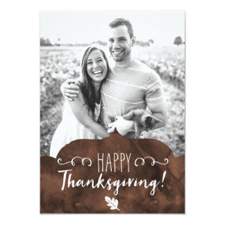 Happy Thanksgiving Brown Watercolor Card