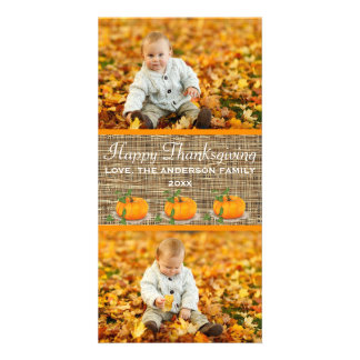 Happy Thanksgiving Burlap 2 Photos - Photo Card