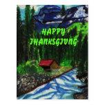 HAPPY THANKSGIVING CABIN  postcard